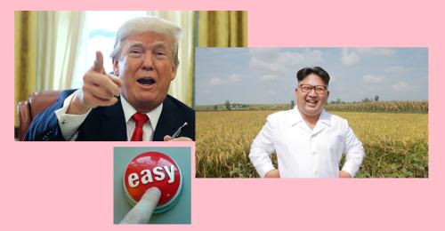 Trump Kim Jong Un easy button gimp created image