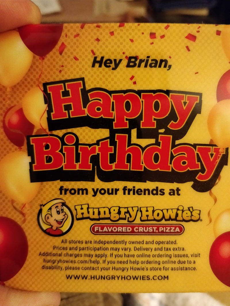 Hungry Howie's birthday card offer data mining image
