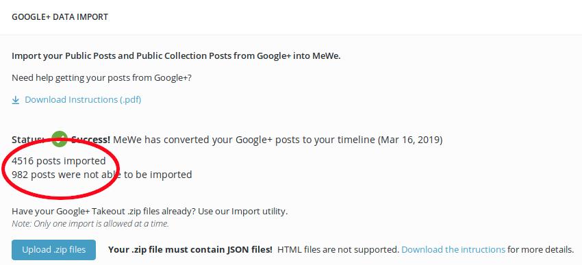 Screenshot_2019-03-25MeWe_importedposts Google Plus to MeWe post import
