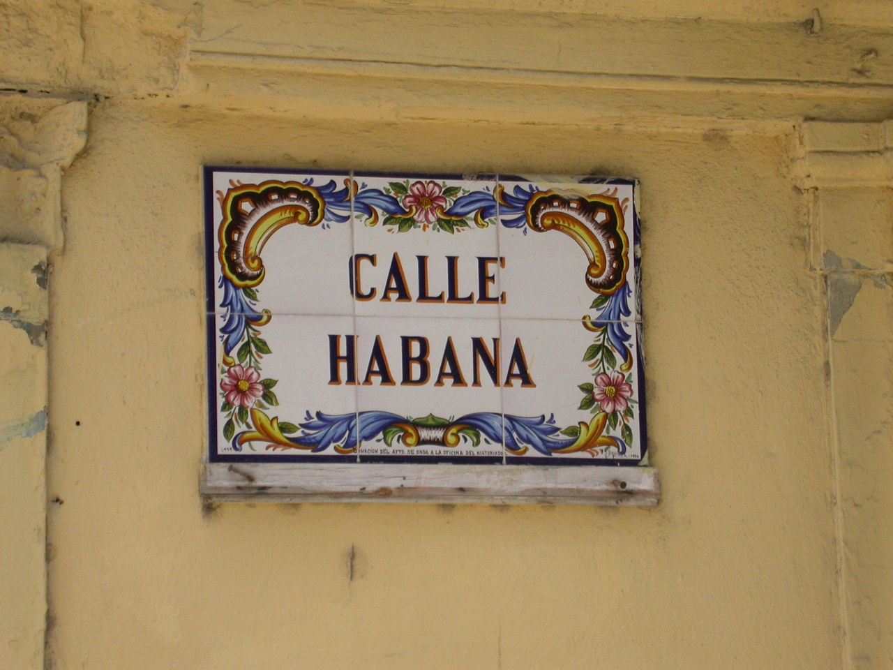 "ceramic street sign in havana cuba ""calle habana"""