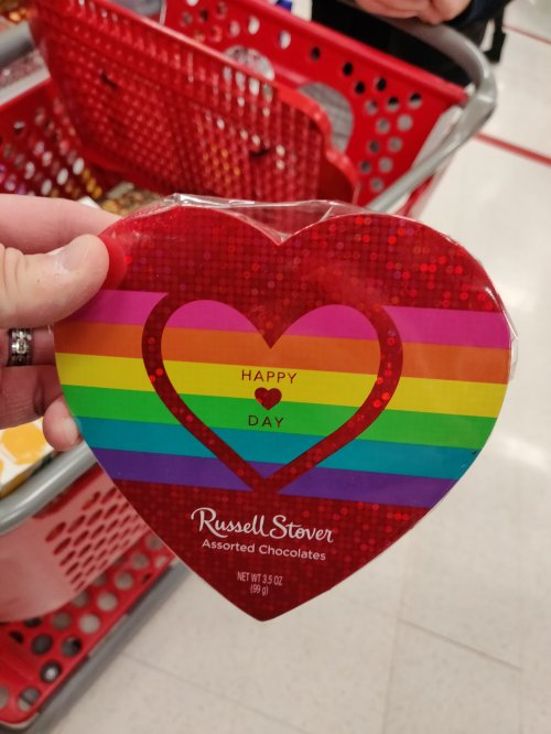 Russell Stover Valentine chocolates in rainbow colored packaging