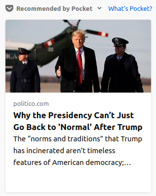 """screenshot of NYT headline, Why the Presidency can't just go back to """"normal"""" after Trump."""